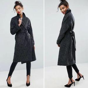 ASOS Shawl Collar Belted Coat Gray 4
